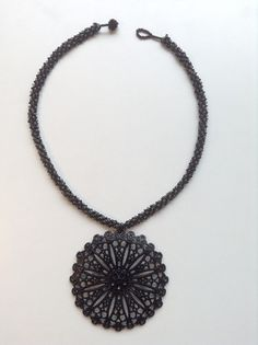 Bold statement necklace Bead weave necklace by LadyofAlbionJewels