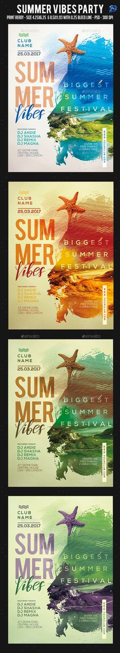 Summer Vibes Party Flyer — Photoshop PSD #night #reggae • Available here → https://graphicriver.net/item/summer-vibes-party-flyer/19410780?ref=pxcr