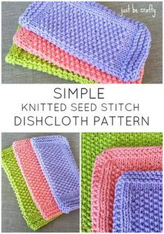 Seed Stitch Dishcloth Pattern - Free Pattern by Just Be Crafty : FREE Pattern! Seed Stitch Dishcloth knitting pattern by Just Be Crafty. Super quick and easy knit! Knitted Washcloth Patterns, Knitted Washcloths, Dishcloth Knitting Patterns, Knitting Stitches, Free Knitting, Dishcloths To Knit, Vintage Knitting, Knitting Squares, Knitting Needles