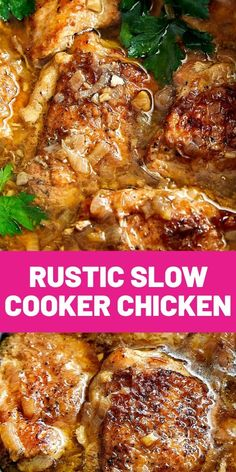 Rustic Slow Cooker Chicken. This slow cooker chicken is melt-in-your-mouth tender, exceptionally flavorful, with rustic flavors. #crockpotrecipes #slowcooker #dinner #cooking #chickenrecipes