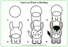 How to Draw - Donkey/Horse-- My goodness this is such a cute donkey.