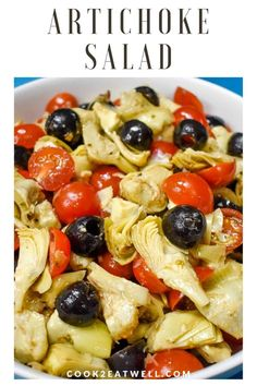 Jun 2019 - This artichoke salad is a simple and tasty side dish that's great for picnics, barbecues and potlucks. In this recipe, canned artichokes are combined with black olives, grape tomatoes and sliced onions. Canned Artichoke Recipes, Artichoke Heart Recipes, Pasta With Artichoke Hearts, Healthy Salad Recipes, Vegetable Recipes, Vegetarian Recipes, Cooking Recipes, Healthy Meals, Detox Recipes