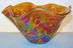 SMALL MIND BLOWING Iridescent ART Glass VASE Bowl FAZZOLETTO Intensely EXQUISITE