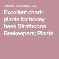 Excellent chart- plants for honey bees Strathcona Beekeepers: Plants