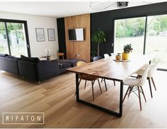 Atelier Ripaton-Hairpin Legs-www. Living Room Tv, Home And Living, Dining Room Design, Dining Room Table, Home Panel, Living Room Inspiration, Kitchen Interior, Sweet Home, House Styles