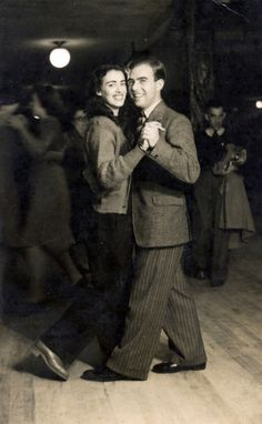 Dancing, 1946 swing era vintage fashion style men women casual sportswear suit jacket pants shoes tie trousers flats oxfords sweater hair 40s post war era found photo
