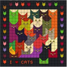 "Lots of Cats on a Quilt -- 44"" sq"