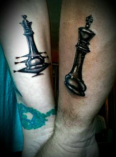 His and Her's King and Queen Chess pieces. Our new matching couple tattoo without names!