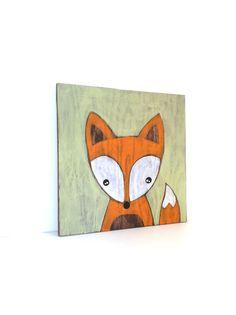 Fox Art - Rustic Nursery Art - Woodland Nursery Decor - Fox Painting - Woodland Fox - Fox Nursery Decor - Woodland Animal - Woodland Critter by SweetBananasArt on Etsy https://www.etsy.com/listing/253611779/fox-art-rustic-nursery-art-woodland