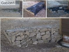 Small gabion retaining wall, before during and after, The client used rubble behind the good facing rock to reduce costs. http://www.gabion1.co.uk