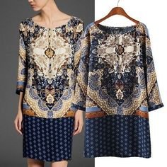Find More Dresses Information about New Fashion Ladies' Elegant Vintage Totem print Dress O neck Three Quarter sleeve mini dress casual dress brand design SY0465,High Quality dress with,China dress up style girls Suppliers, Cheap dress styles a line from Ida Lau's store on Aliexpress.com