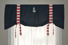 Window Valance Nautical Valance Tie Up Valance by BandedPillows