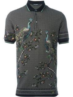 DOLCE & GABBANA Peacock Print Polo Shirt. #dolcegabbana #cloth #shirt