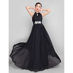 A-line/Princess High Neck  Floor-length  Tulle Evening Dress – AUD $ 181.95