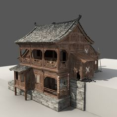 Chinese Old Wooden House - 3d model - CGStudio... love the idea of 3d model of new home prior to building it.