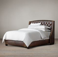 Warner Tufted Leather Bed With Nailheads