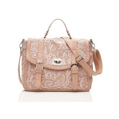 Lace Satchel - Forever New (58 CAD) ❤ liked on Polyvore featuring bags, handbags, purses, сумки, lace handbag, forever new, pink purse, pink satchel bag and lace bag