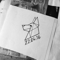 Date Tattoos, Body Art Tattoos, Small Tattoos, Tattoo Perro, Apollo Tattoo, Diary Cover Design, Husky Tattoo, German Shepherd Tattoo, Geometric Wolf