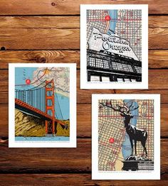 These map art prints highlight iconic landmarks in beloved cities. Each attraction is graphically illustrated and placed over a vintage street map of the surrounding area with a red dot to mark the exact spot.  Choose three from the following: Elk Fountain (Portland), Bicycle (Portland), Old Town (Portland), You Are Beer (Portland), Water Tower (Portland), Performing Arts Center (Portland), Urban Goat (Portland), Brooklyn Bridge (NYC and Brooklyn), Golden Gate Bridge (San Francisco).