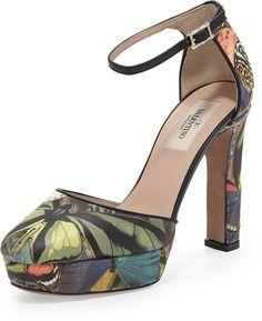 Valentino Butterfly Ankle-Wrap Platform Pump
