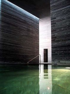 """I work a little bit like a sculptor. When I start, my first idea for a building is with the material. I believe architecture is about that. It's not about paper, it's not about forms. It's about space and material."" • PETER ZUMTHOR • 1996 = Les Thermes de pierre à Vals"