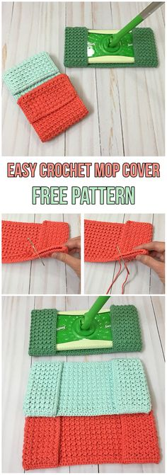 Easy Crochet Mop Cover Free Pattern #diy #diyproject #howto #crochet #crocheting #crochetpattern #freepattern #pattern #mop #sweeper #cleaning #reusable #homemade #handmade #clean #green #orange #blue