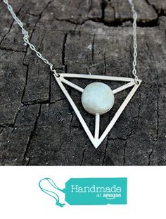 California Light Blue Green Jasper set in Sterling Silver Geometric Statement Triangle Necklace from Silver and Slag http://www.amazon.com/dp/B01BLX12G0/ref=hnd_sw_r_pi_dp_NLD4wb06N0JNJ #handmadeatamazon