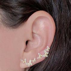 Diamond Butterfly Ear Climber - Designer Earrings - The EarStylist – The EarStylist by Jo Nayor climber earrings Diamond Butterfly Climber Piercing Face, Pretty Ear Piercings, Ear Jewelry, Cute Jewelry, Body Jewelry, Jewellery, Dainty Jewelry, Jóias Body Chains, Fashion Earrings