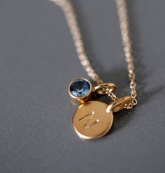 Gold Vermeil Tiny Initial and Birthstone Necklace - Gemstone Initial Pendant Mom Jewelry, Cute Jewelry, Jewelery, Silver Jewelry, Jewelry Accessories, Jewelry Necklaces, Jewelry Design, Initial Pendant, Initial Necklace