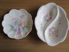 2 x Vintage Aynsley Little Sweetheart Trinket Plate pin candy bonbon dish China #PinDishes