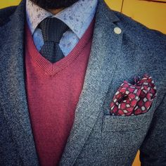 Antra blazer and red sweaters
