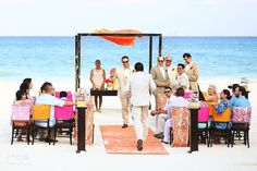 Beach wedding at the Playacar Palace, Playa del Carmen, Riviera Maya.  Mexico wedding photographers Del Sol Photography