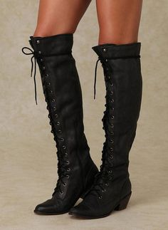 90f63dae0c49 Lace Up Black Knee High Boots  Highheelboots Black Lace Boots