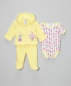 Take a look at this Yellow Owl Fleece Footie Pants Set by Teddy Boom on #zulily today!