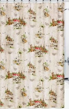 Vintage French Eiffel Tower Shower Curtain | Vintage, Decoupage And  Decoupage Paper