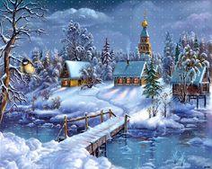 White christmas desktop wallpaper with village covered in snow    freewallpapershut.blogspot.com