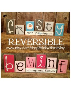 REVERSIBLE blocks Frosty the snowman and Be by stickwithmevinyl
