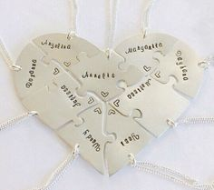 Hand engraved heart puzzle necklaces, shaped like a heart - perfect for 9, friendship, family, BFF, nine puzzles, jigsaw, 9 pieces, nine by InspiredByBronx on Etsy https://www.etsy.com/listing/498194315/hand-engraved-heart-puzzle-necklaces