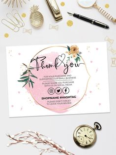 Pink Gold Thank You For Your Order, Customer Thank You Card, Small Business Insert card, Printable Insert Card Template, You Edit! Business Thank You Notes, Small Business Cards, Free Business Cards, Free Printable Business Cards, Printable Thank You Cards, Thank You Card Template, Card Templates, Thank You Customers, Thank You For Purchasing