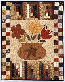 flower in pot wall quilt. From flowering quilts
