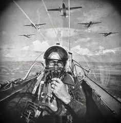Selfie by Dutch photographer Frits Rotgans in a jet fighter; ca.1966 | I hope to be remembered for my atrocities!