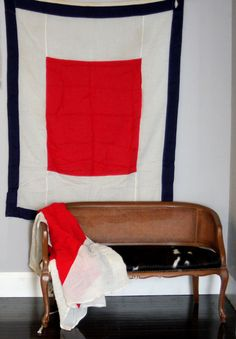 Vintage Linen Red, White and Navy Nautical Signal Flag. $120.00, via Etsy.