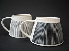 wide based mugs/ cups by vicky hageman Pottery Mugs, Ceramic Pottery, Pottery Art, Thrown Pottery, Slab Pottery, Pottery Studio, Ceramic Tableware, Ceramic Cups, Ceramic Art