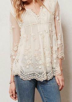 Flower Embroidery Chic Round Neck See-Through Flower Embroidery Long Sleeve Blouse For Women - Fashion Clothing Site with greatest number of Latest casual style Dresses as well as other categories such as men, kids, swimwear at a affordable price. Pretty Outfits, Beautiful Outfits, Cool Outfits, Beautiful Clothes, Mode Ab 50, Lingerie Look, Vetements Clothing, Mode Top, Estilo Boho
