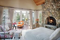 Michigan Lake House rustic bedroom - fireplace and a sunroom. This is the perfect bedrm. Cottage Style Bedrooms, Style Cottage, Cabin Bedrooms, Bedroom Country, Cottage Interiors, Cottage Living, Farmhouse Style, Cozy Bedroom, Dream Bedroom