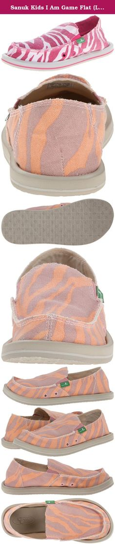 Sanuk Kids I Am Game Flat (Little Kid/Big Kid),Zebra Rose/Peach. The I'm Game Sidewalk Surfer from Sanuk combines the coverage of a shoe with the flexible comfort of walking in a sandal. The lightweight fabric upper is perfect for the warm weather season, and the molded footbed moves with your foot each time you take a step for a more natural motion. With the fun animal-printed upper, you'll add a whimsical touch to your casual wardrobe. Feeling this light on your feet, you never want to...