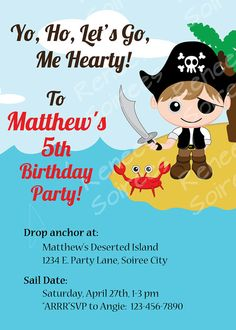 PIRATE INVITATION  Printable  Birthday Party  by ReneesSoirees, $10.00