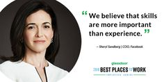"""""""The Best Thing About Working For Facebook Is…"""" Sheryl Sandberg Opens Up Best Places To Work, For Facebook, Career Advice, Open Up, The Good Place, Believe, Good Things, Career Counseling"""