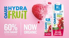 Discover Oasis HydraFruit Organic Beverages ~ CAN - Ottawa Mommy Club : Ottawa Mommy Club Healthy Eating Habits, Healthy Drinks, Healthy Recipes, Oasis, How Much Sugar, Strawberry Kiwi, Organic Logo, Sugar Intake, Fruit Water