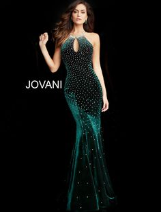 43622c635 Jovani 65312 floor length form fitting hunter velvet prom dress with heat  set stones features sleeveless bodice with key hole neckline and open racer  back.